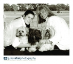 Jane and Taylor and there three dogs. Adam, Evie and Bailey all Lhasa Apsos